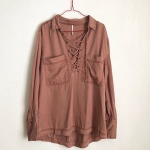 Free people brown top size:M boho slip on comfy